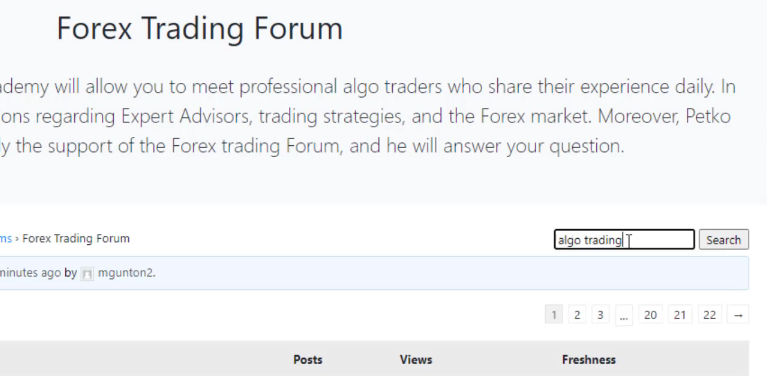 algo trading in the Forum