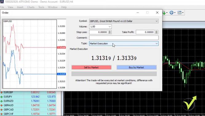 MetaTrader tutorial order interface