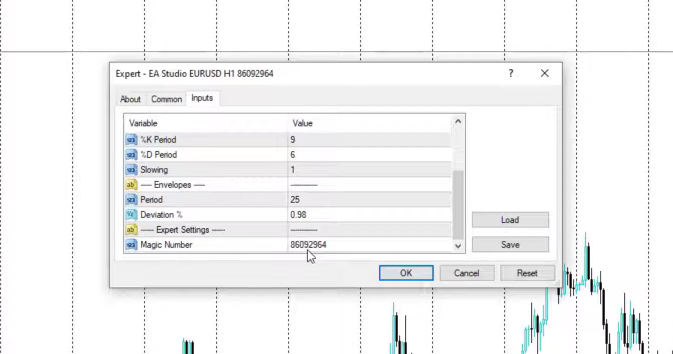 The input menu in MetaTrader