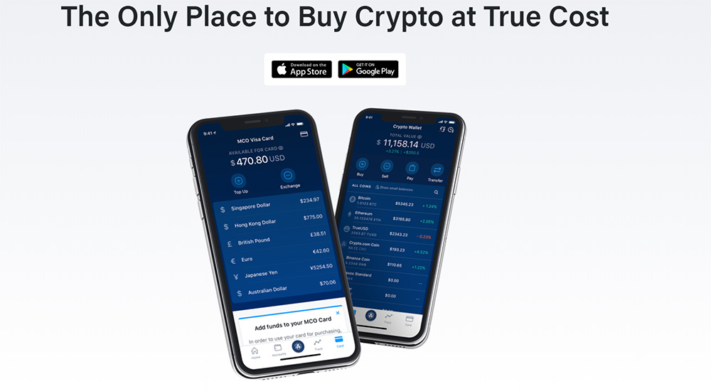 Crypto.com mobile app for iOS and Android devices