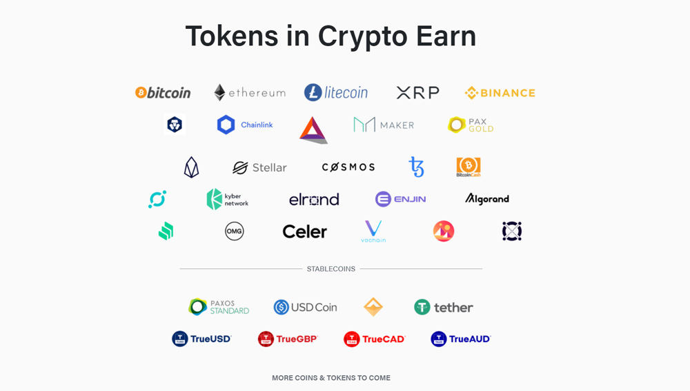 Tokens in Crypto Earn