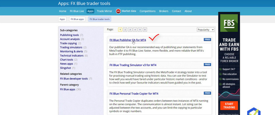 FX Blue Publisher EA for MT4