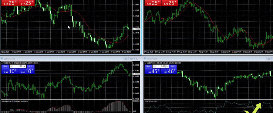 The 4 windows are displayed equally on the MetaTrader screen