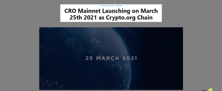 CRO Mainnet Launching announcement on Crypto.com blog