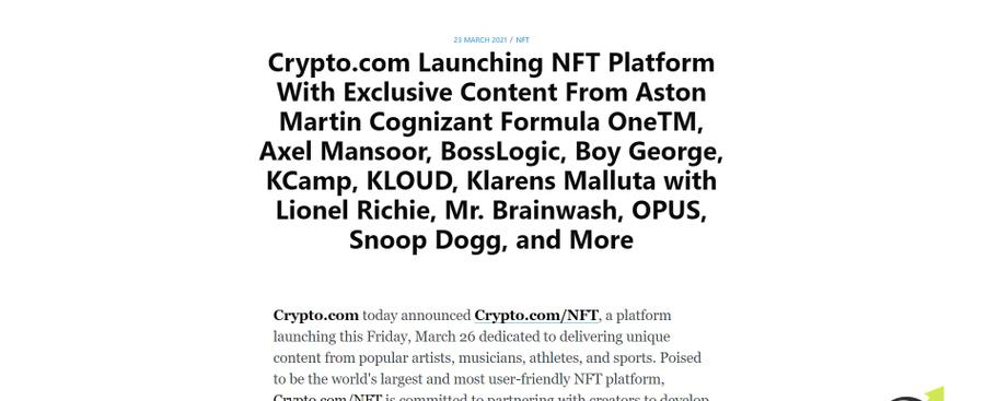 Crypto.com publication regarding the NFC crypto coins platform