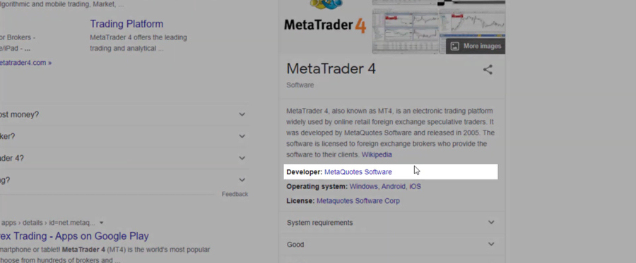 MetaTrader is developed by MetaQuotes