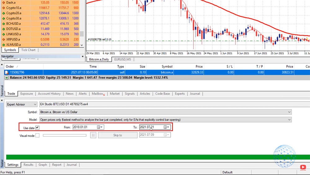 Select the date range for the Bitcoin strategy backtest in MetaTrader