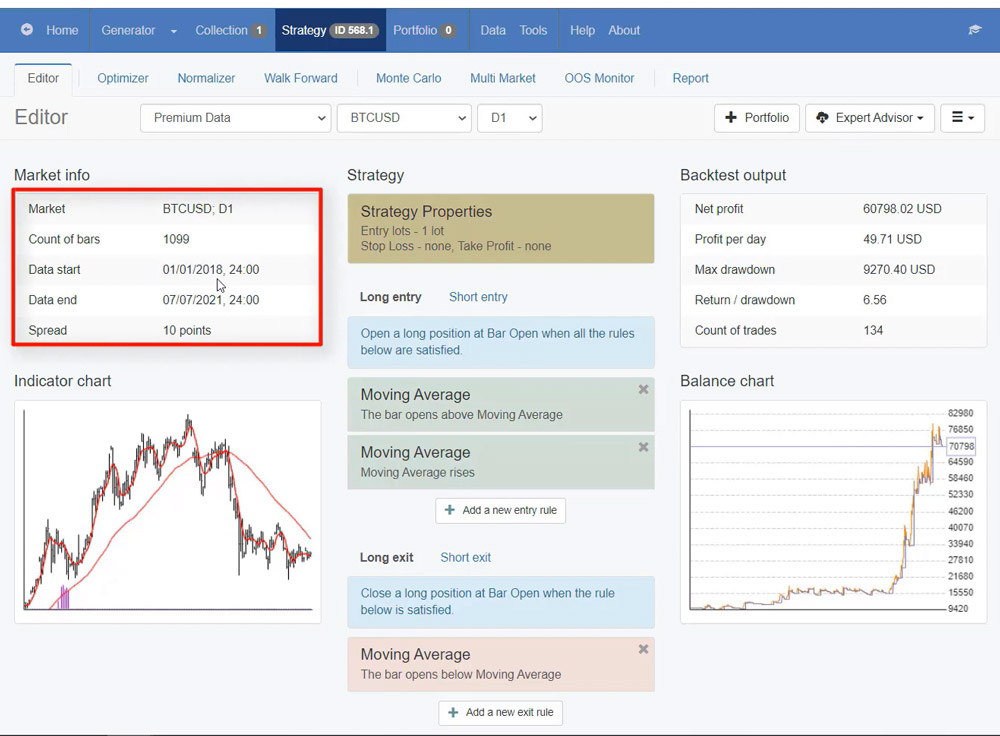 Market info in EA Studio