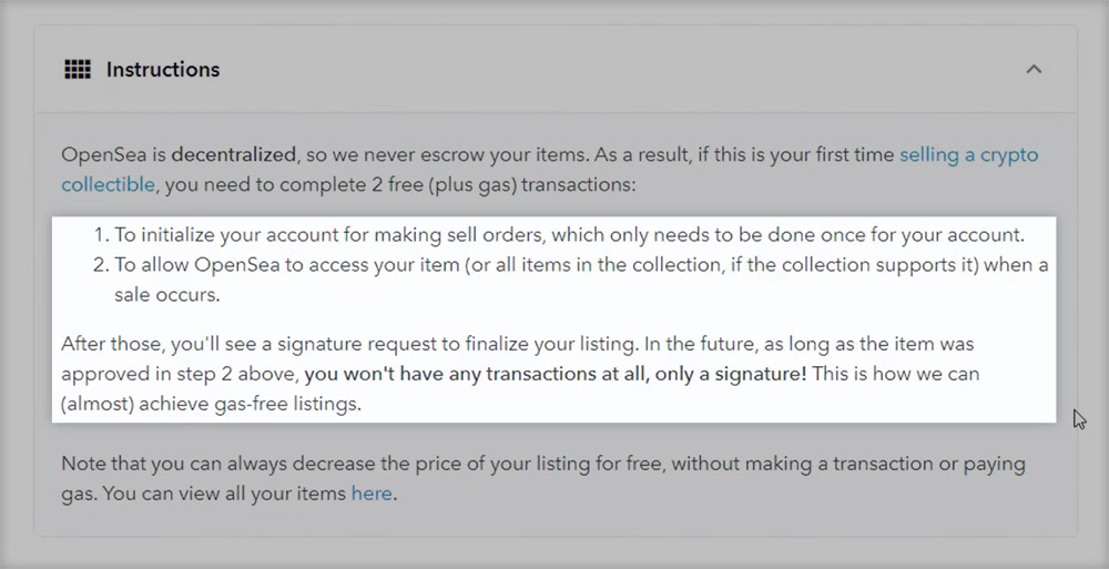 Instructions for selling an NFT