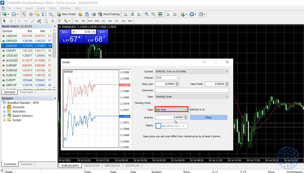 Place a trade with the Buy Stop limit in MetaTrader 4